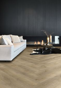 Moduleo Transform Luxury Vinyl Tiles have been carefully created to mimic the natural look of wood and stone, with a 20 year domestic guarantee the Transform range has unrivalled style and durability. Wooden Floors Living Room, Living Room Modern, Living Room Interior, Home Living Room, White Wooden Floor, Moduleo Flooring, Hardwood Floor Colors, Luxury Vinyl Tile Flooring, Black And White Living Room