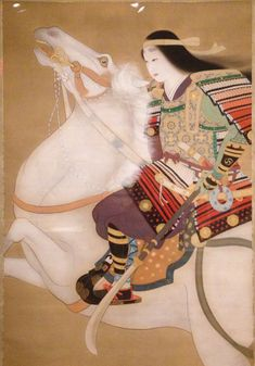 Tomoe-gozen, a female samurai in the Minamoto clan.  ink and color on silk by Miki Suizan.  MIA exhibit, 1/2014