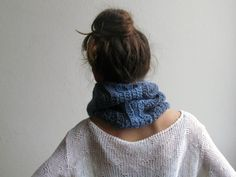 Chevron scarf - Tube scarf - Chunky denim color - fall accessory - for man and woman - stripe luxury alpaca by knittingmamas on Etsy