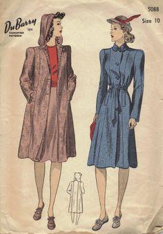 Vintage Sewing Pattern 1940s Raincoat by AdeleBeeAnnPatterns