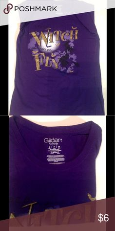 """T Shirt Ladies P Small Purple """"Witch When You Fly"""" Measures 24"""" Long and 16"""" at chest, underarm to underarm.  Great condition, no signs of wear. Gildan Tops Tees - Short Sleeve"""