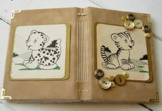 Suede Ephemera Journal Front and Back Handmade Journals, Watercolor Drawing, Cute Images, Love Art, Mini Albums, Ephemera, I Shop, Projects To Try, Coin Purse