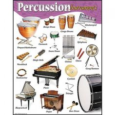 Percussion Instruments Educational Poster. These are just the ones most widely used in Western classical & popular music. Technically, the piano & harpsichord are string instruments, and the organ is a wind instrument, but they are often used in a percussive manner, especially as part of the rhythm section, hence their default inclusion here. Thus all four scientific categories of acoustic instruments are represented here -- idiophones, membranophones, chordophones, aerophones.