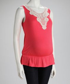 Take a look at this QT Maternity Coral Crocheted Maternity Sleeveless Top by QT Maternity on #zulily today!