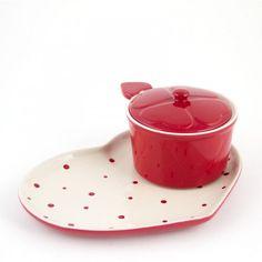 temp-tations® Polka Dot Heart Shaped Soup and Sandwich Set :: temp-tations® by Tara