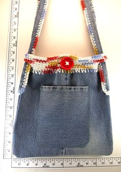 Womens recycled denim hobo hip bag handmade crochet by Heads2Toes