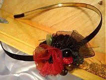 red Carmen diy fabric headband with beads