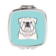 Checkerboard Blue White English Bulldog Compact Mirror BB1158SCM