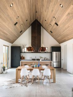 Welcome to Ideas of Canal House by The Ranch Mine article. In this post, you'll enjoy a picture of Canal House by The Ranch Mine design . Cabin Interiors, Open Plan Kitchen, Space Kitchen, Room Kitchen, Kitchen Dining, Minimalist Home, Home Kitchens, Living Spaces, House Plans