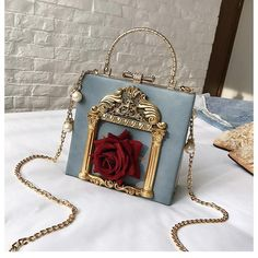 """- Weight: 0.75KG - Material: made of faux PU leather - Color: Black/Blue/White/Pink - Size: 18*17*8cm/7.09""""*6.69""""*3.15"""" - Shipping: Free Shipping Worldwide for order over 15$, 7-15 days delivery to US/UK/CA/AU/FR/DE/IT and most Asia Countries Kawaii Clothes, Vintage Roses, Unique Fashion, Fashion Women, Messenger Bag, Louis Vuitton Twist, Purses, Pearls, Box Bag"""