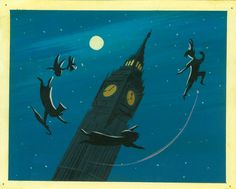 Mary Blair, Concept art of Peter and children silhouetted around Big Ben, ca. 1953; gouache; 6.75 x 8.38 in. (17.15 x 21.27 cm)