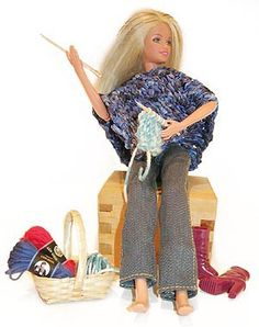 Barbie knits. Even though she finds it challenging to sit down and relax.
