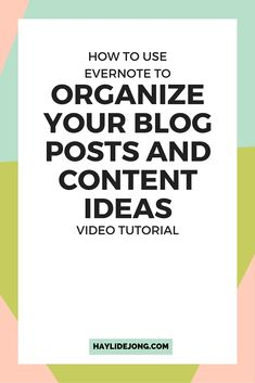 Looking for a great way to organize and plan out your blog posts and content? I use evernote to write out rough drafts and then copy them over to my blog to schedule and create a blog post graphic. Check out this video to see how you can use evernote and the ins and outs of the program