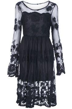 Hollow Black Lace Dress