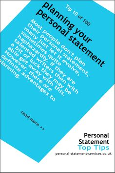 Planning your personal statement