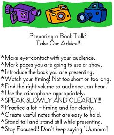 Our 3rd-grade student-created list of advice for those preparing Book Talks!