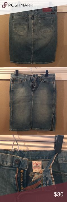 "Lucky denim skirt This is an awesome denim pencil skirt! It does have a slit in the side so you can still move easily. Length is 22.5"". Lucky Brand Skirts Pencil"
