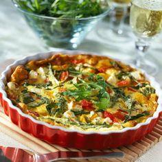 Découvrez la recette Tarte courgettes, poivrons et chèvre sur cuisineactuelle.fr.