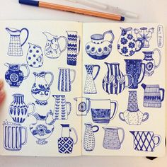 Pitchers in blue in Heegyum Kim's sketchbook