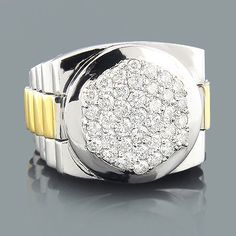This luxurious mens 14K two tone gold diamond Rolex Style ring weighs approximately 29 grams and showcases exquisite round diamonds, each pave set in a highly polished solid gold frame. Impressing with quality and style, this fantastic men's Rolex Style diamond ring features a fine gallery back and is available in 14K white, yellow and rose gold.