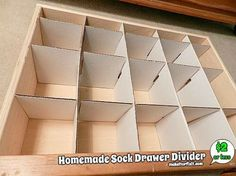 A step-by-step tutorial with pictures on how to make a homemade sock drawer divider. This will keep your socks neatly organized. Homemade Drawers, Diy Drawers, Storage Drawers, Paper Storage, Diy Storage Boxes, Craft Storage, Storage Ideas, Diy Drawer Dividers, Diy Drawer Organizer