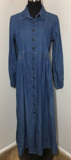 Forenza Denim Dress Blue Jean Maxi Button Down Long Size 12 #Forenza #Maxi #Casual