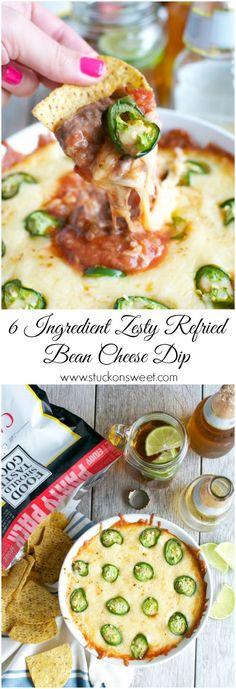 Zesty Refried Bean Cheese Dip   www.stuckonsweet.com