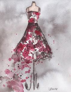 Original  Watercolor and Charcoal  Vintage by laurenspaintpalette, $100.00