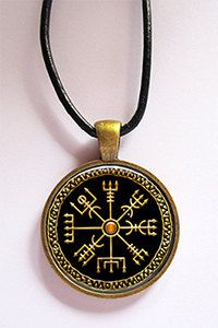 Viking Compass Vegvisir Glass Art Pendant in Bronze with Leather Cord | KeukaSigns - Jewelry on ArtFire