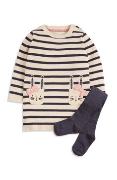 Cream Bunny Knit Dress And Tights