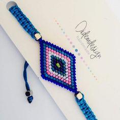 Mavi-pembe miyuki bileklik Baklava dilimi motifi miyuki boncuktan yapılmış.Lacivert, mavi, pembe, beyaz, mor, yeşil.... 253218 Loom Bracelet Patterns, Bead Loom Bracelets, Love Bracelets, Jewelry Patterns, Handmade Bracelets, Beading Patterns, Diy Jewelry, Beaded Jewelry, Jewelry Making