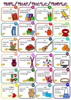 This, that, these, those Idioma: inglés Curso/nivel: elementary Asignatura: English as a Second Language (ESL) Tema principal: Demonstratives Otros contenidos: englisch English Resources, English Tips, English Activities, English Lessons, Learn English, French Lessons, Spanish Lessons, Learn French, English Language Learners