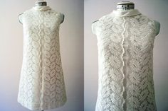 Vintage 60s White Cotton Lace Mod Mini Shift Wedding Dress Party Cocktail Dress Petite. $150.00, via Etsy.