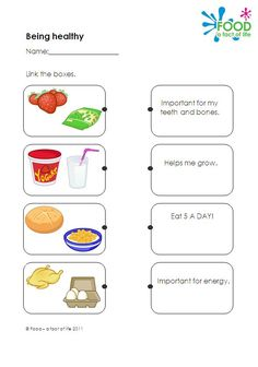 Healthy eating teaching resource: worksheet which link types of food to their health benefits