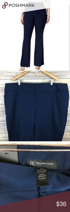 INC Navy Wide Leg High Rise Trousers INC Womens Navy Twill Wide Leg High Rise Dress Pants Trousers Plus 24W   Manufacturer: INC Size: 24W Size Origin: US  Manufacturer Color: Deep Twilight Retail: $79.50 Condition: New without tags Fit: Style Type: Dress Pants Collection: INC Bottom Closure: Hook/Bar Zip Fly Waist Across: 24 Inches Inseam: 32 1/2 Inches Rise: 12 1/2 Inches Hips Across: 28 Inches Leg Opening: 25 Inches Front Style: Flat Front Back Pockets: No Pockets Material: 57% Cotton/37%…