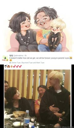 This picture is so sweet Mark with his parents is adorable. (This is Mark from got7, btw.) | allkpop Meme Center