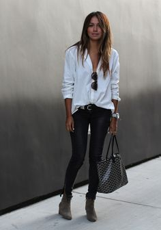 Oversized White Top + Leather Pant + +