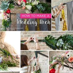 Learn how to make a wedding arch with gorgeous silk flowers from http://www.afloral.com/Silk-Wedding-Flowers. #diywedding Design by: Emmy Ray Photos by: Jana Marie