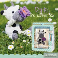 Dorte is a caring cow - she loves everything and everyone. The best things in the world are warm hugs and big smiles. You can make Dorte with a crochet kit from Go Handmade. Price, 22.75 Euro // 169 DKK - www.gohandmade.dk.