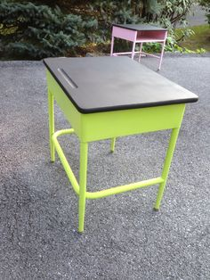 Repainted vintage school desk with a chalkboard top for kids to write on