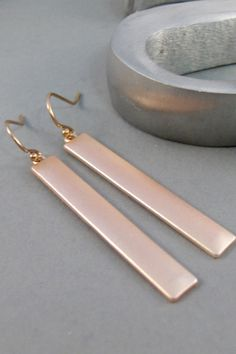 Rose Gold Bar,Earrings,Rose Gold Earrings,Rose Gold,Gold Filled,Earring,Bar Earring,Statement Earring,Gold Earring, SeaMaidenJewelry
