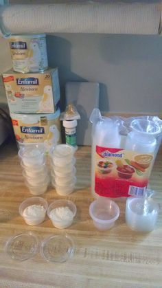 Clever Baby Formula Storage - I purchased these food storage cups at my local grocery for $3.99. They are perfect for pre-measuring formula. I make all my tubs for the day in the morning and then its just fill, dump, shake and go! I wash them out and reuse them, but cheap enough so if they get ruined, just recycle.