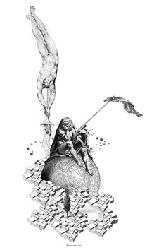 Neoclassical Fantasy GICLEE ART PRINT Unique Graphic by BOBOnyc