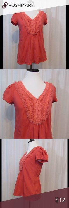 "Ric Rac Anthropologie Coral Chiffonade Top S -Cap Sleeve -V Neck  -Chiffon bib neckline   Brand: Ric Rac  Size: S Color: Coral  Material: 60% Cotton 40% Polyester  Care Instructions: Machine wash  Bust: 34"" Sleeves: 5"" Length: 23""  Buy more save more! Bundle discount! No trades.   All clothing is in excellent used condition. All clothes have been inspected and unless otherwise noted have no rips, holes or stains.   Cont: P21 Anthropologie Tops Blouses"