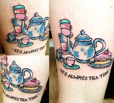 Tattooed another of my Alice designs on Anna yesterday to go with her foot tattoos! We're gonna fill up her leg with these little designs hahaha ☕️🍰 #tattoo #apprentice #tattooapprentice #alice #aliceinwonderland #alicethroughthelookingglass #disney #disneytattoo #tea #teaparty #cake #cute #cutetattoo #legtattoo #illustration #art