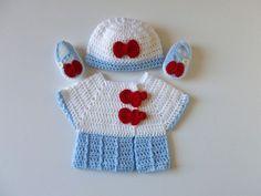 Девочка, ручной работы,вязаные белая и Голубая с коротким рукавом, свитер, шапка, и Мэри Джейн обувь комплект; Размер: новорожденный
