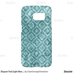 Elegant Teal Light Blue Grunge Squares Pattern Samsung Galaxy S7 Case