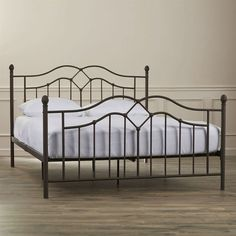 Full size Modern Classic Metal Bed Frame in Brushed Bronze Finish with Headboard and Footboard
