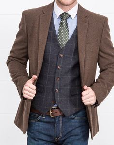 Slaters Collection // Heritage Tweeds with denim Big Men Fashion, Mens Fashion Suits, Mens Suits, Petite Fashion, Curvy Fashion, Fashion Fashion, Fashion Outfits, Fashion Tips, Fashion Trends