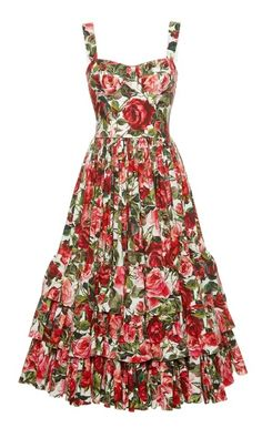 Dolce & Gabbana Rose Print Poplin Bustier Dress In Additional Details Will Be Added When The Item Arrives In Stock Cotton Dresses, Cute Dresses, Beautiful Dresses, Casual Dresses, Short Dresses, Summer Dresses, Vintage Outfits, Vintage Dresses, Vintage Clothing